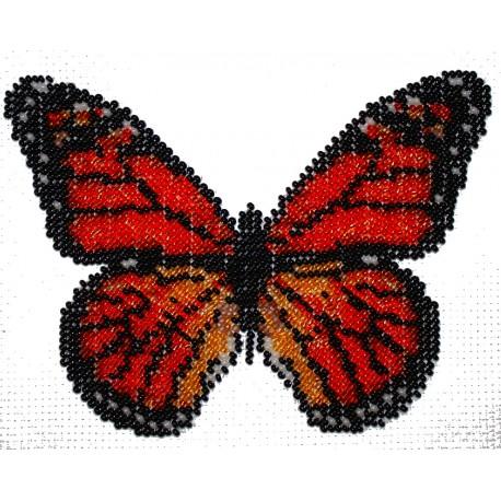 Borduurpakket vlinder oranje/bruin/zwart 12x16cm.