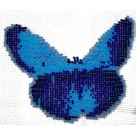 Borduurpakket vlinder blauw 11x14cm.