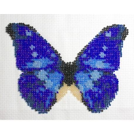 Borduurpakket vlinder blauw/bruin 11x16cm.