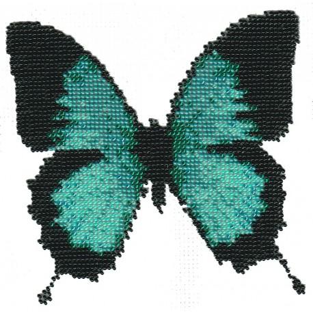 Borduurpakket vlinder aqua 15x15cm