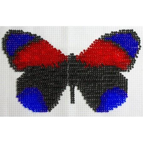 Borduurpakket vlinder zwart/blauw/rood 10x16cm.