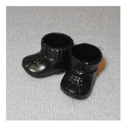Paar zwarte laarsjes voor babypop 8 cm.