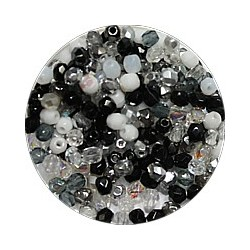 Facetkraal 3mm zwart/witte mix 200 stuks
