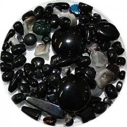 Tsjechische glasmix zwart/grijs 50 gram