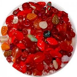 Tsjechische glasmix rood middel 50 gram