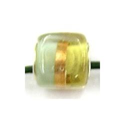 Pandorastyle kraal vierkant m.goudstreep p.stuk