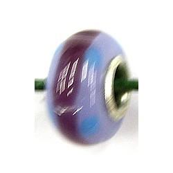 Pandorastyle kraal lila/paars gestreept p.stuk