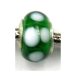 Pandorastyle kraal groen m. witte stippen