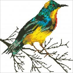 Borduurpatroon vogel op tak 31x31cm