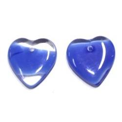 Vintage hart 4x15mmtransp. met blauw 5 st