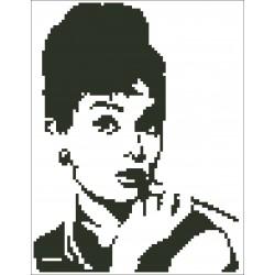 Borduurpakket silhouet Audrey Hepburn 17x22cm.