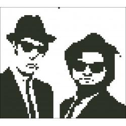 Borduurpakket silhouet Blues Brothers 16x18cm