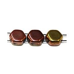 2-gat 6,5mm zeskant kralen geel/roodgoud 15st.