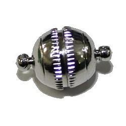 Magneetsluiting bol 12x18mm verzilv. p.st.