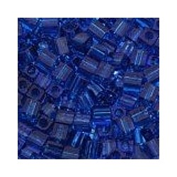Miyuki square 4mm transp d.blauw 100st.