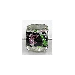 glaskr.blokje 10mm tr.zwart/witte streep+roos 5st