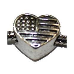 Metalen kraal 12mm gat 5mm hartvorm p.st.