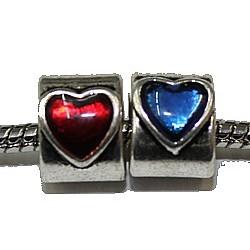 Metalen kraal 9mm gat 5mm hartvorm p.st.