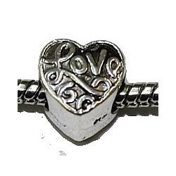 Metalen kraal 10mm gat 5mm hartvorm p.st.