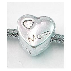 Metalen kraal 11mm gat 5mm hartvorm p.st.