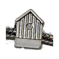 Metalen kraal 13mm gat 5mm vogelhuisje