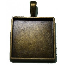 Kastje voor 25mm vierkante camee oudgoudkl.