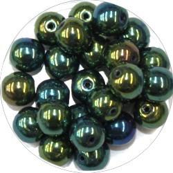 Glaskraal 8mm rond zwart groen AB 25st.