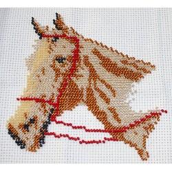 Borduurpakket paardenhoofd beige ca 15x15cm