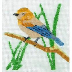 Borduurpakket vogel geel/blauw 18x18cm.