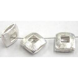 Bali zilver opengew. vierkante kr 12mm diamond p. 3st