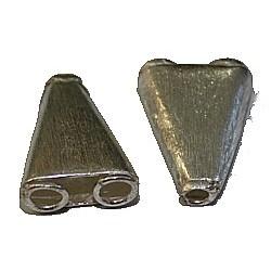 Bali zilver 2-rij eindstuk 20mm diamond polish 2st