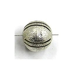 Bali zilver holle kraal 14mm gesll.antiek diamond 3st