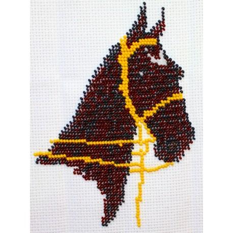 Borduurpakket Paardenhoofd zwart/bruin 17x14cm