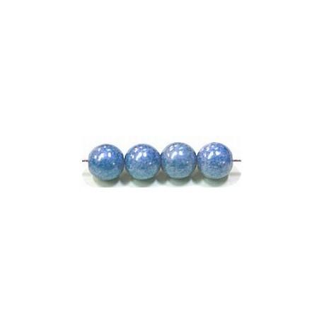 Glaskralen 6mm blauw parelmoer ca.38 stuks