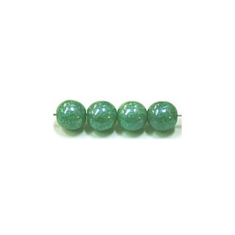 Glaskralen 8mm groen parelmoer ca.16 stuks