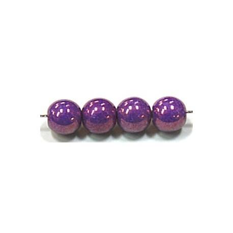 Glaskralen 10mm paars parelmoer 6 stuks