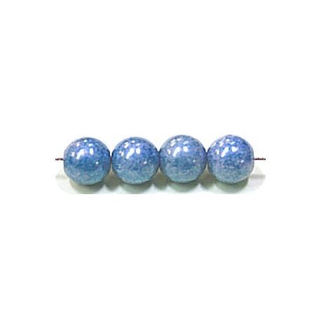 Glaskralen 10mm blauw parelmoer 6 stuks