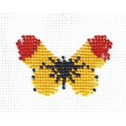 Borduurpakket geel/zwart/rood vlinder 5x8cm