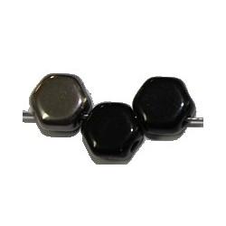 2-gat 6,5mm zeskant opaque zwart/grijs15st.
