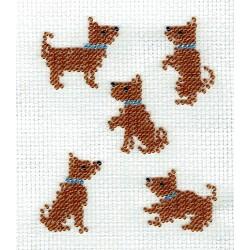 Borduurpakket 5 hondjes 9x12cm