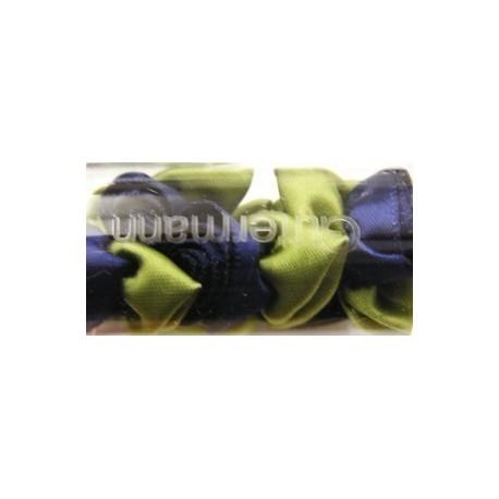 Satijnroosjes 15 mm donker blauw 5 stuks