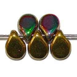 PIP kralen 7mm groen/paars/geelgoud 50st.