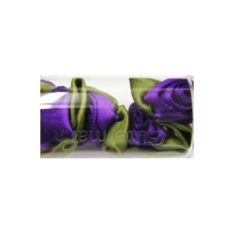 Satijnroosjes 15 mm paars 5 stuks