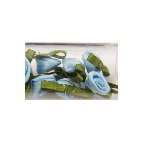 Satijnroosjes 10mm lichtblauw 10 stuks