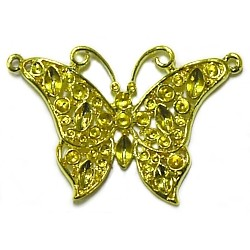 Hanger vlinder 30mm goudkl. voor 2+3mm simili