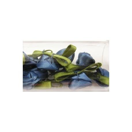 Satijnroosjes 10mm blauw 10 stuks