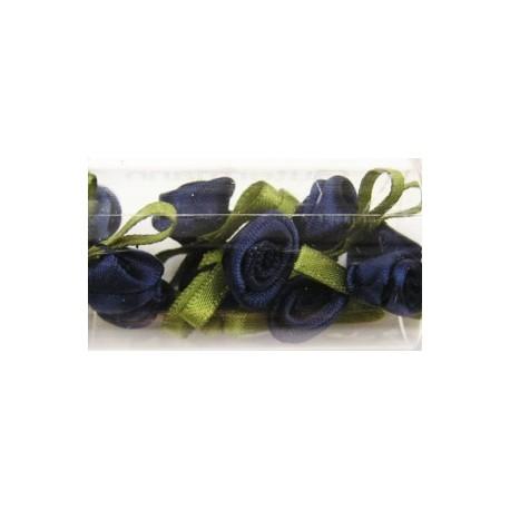 Satijnroosjes 10mm donker blauw 10 stuks