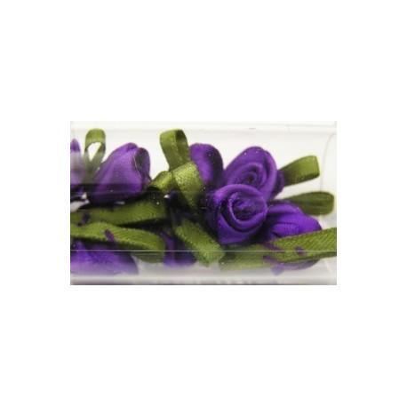 Satijnroosjes 10mm paars 10 stuks