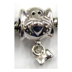Pandorastyle kraal metaal hond met kluif