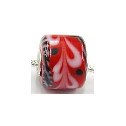 Pandorastyle 3mm gat rood zw/wit motief